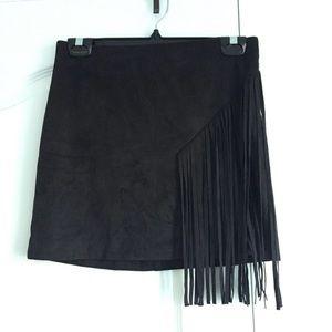 F21 Black Vegan Suede Fringe Mini Skirt Size